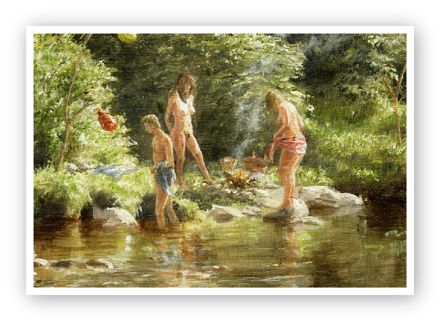 detail of the bathers drying by a fire, river Dart, Dartmoor