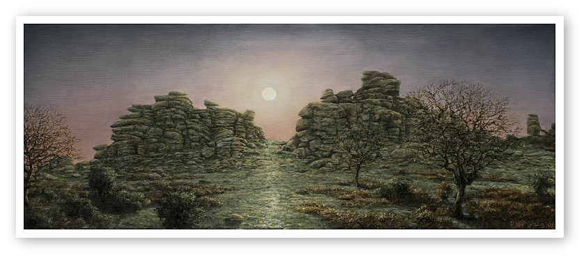 Full Moon Rising, Hound Tor, Dartmoor print enlargement