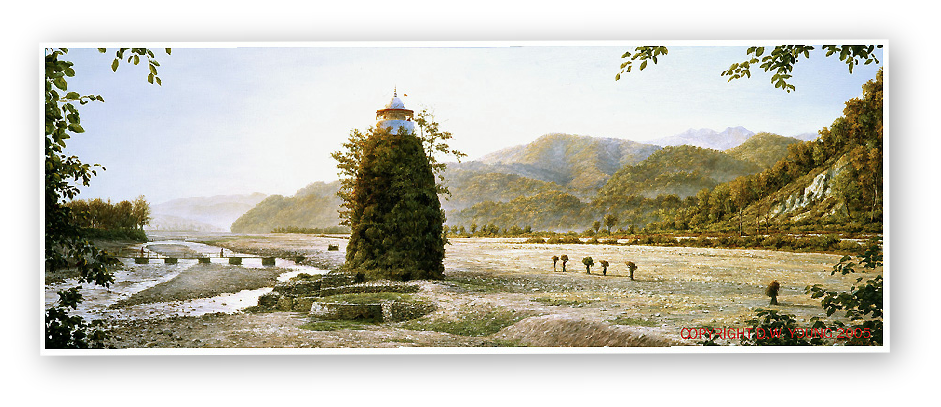 Garjiya Devi Temple , Himalayan Foothills, India painting by David W Young