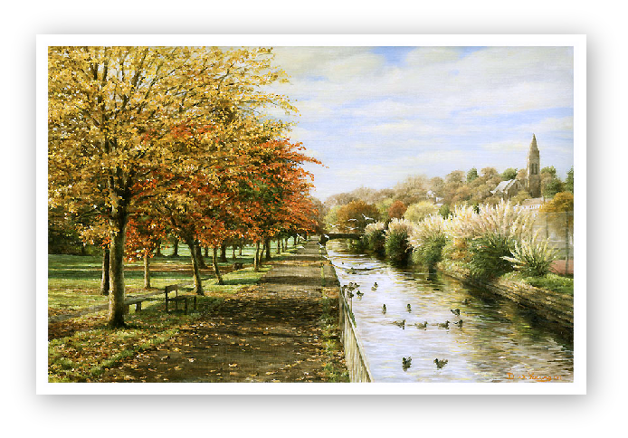 Canal Walk, Tavistock Meadows painting by David Young